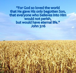"""""""For God so loved the world that He gave His only begotten Son, that everyone who believes into Him would not perish, but would have eternal life."""" John 3:16"""